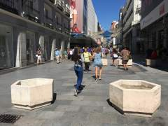 Maceteros en zonas peatonales del centro de Madrid