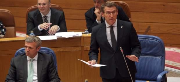 El presidente de la Xunta, Alberto Núñez Feijóo, en el pleno.