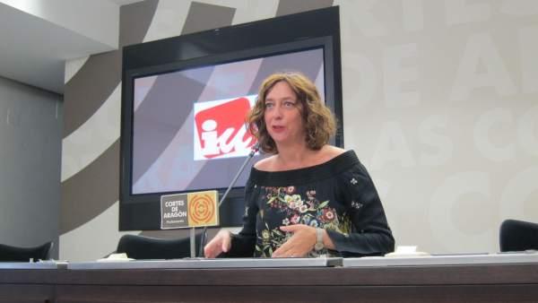 Patricia Luquin (IU) en rueda de prensa tras la primera jornada del Debate
