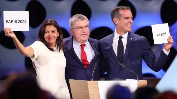 Anne Hidalgo, Thomas Bach y  Eric Garcetti