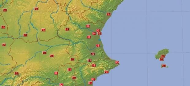 Temperaturas de este jueves en la Comunitat Valenciana