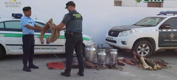 Efectos recuperados tras robos en Paymogo (Huelva)