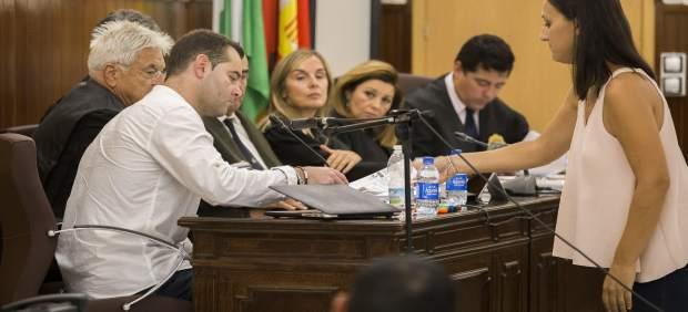 El acusado en el doble crimen de Almonte (Huelva), en la sala de la Audiencia.