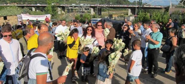 Ofrenda floral el 24 de julio de 2017. 4º aniversario del accidente de Angrois
