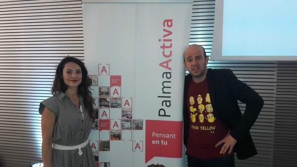 La gerente de PalmaActiva, Susana Rincón, y Jandro, el ponente de la conferencia