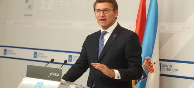 El presidente de la Xunta, Alberto Núñez Feijóo, en rueda de prensa
