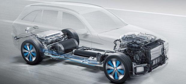 Ubicación de los depósitos de hidrógeno en un Mercedes-Benz GLC F-CELL