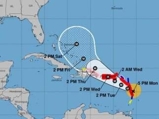 Trayectoria del huracán María en el Caribe
