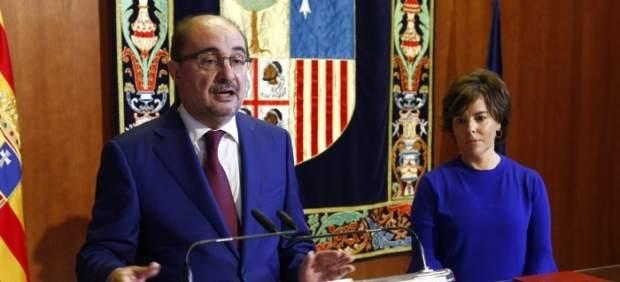 Lambán y Sáenz de Santamaría en la firma del FITE en Teruel