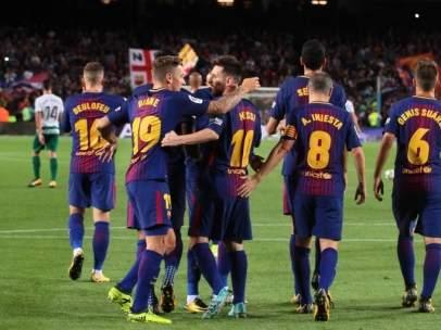 Leo Messi Lucas Digne Iniesta Denis Suárez Barcelona Eibar