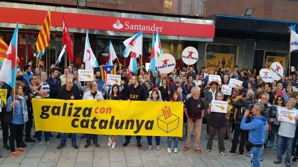 Protesta en Vigo contra las detenciones y en apoyo al referéndum del 1-O