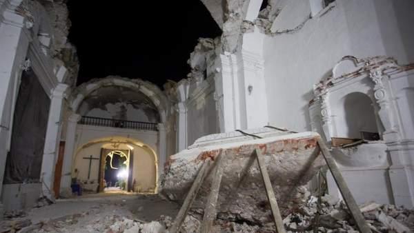 Iglesia derrumbada en Puebla