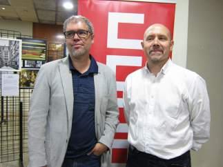 Unai Sordo, junto a Manuel Pina (CCOO), hoy en Zaragoza