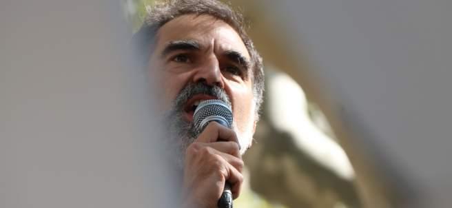 El presidente de Òmnium Cultural, Jordi Cuixart, en la manifestación ante el TSJC.