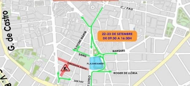 La Plaça de l'Ajuntament de València es tanca al trànsit per la Setmana de la Mobilitat