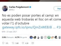 Puigdemont difunde un nuevo enlace para consultar dónde votar el 1-O