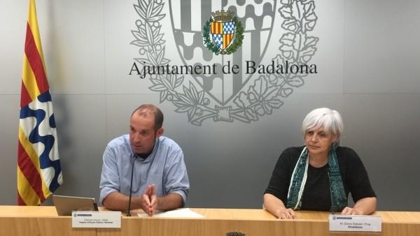 El concejal de Badalona Francesc Duran, y la alcaldesa, Dolors Sabater