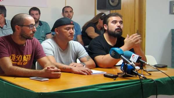 El portavoz nacional del SAT, Oscar Reina, en un acto en Jaén