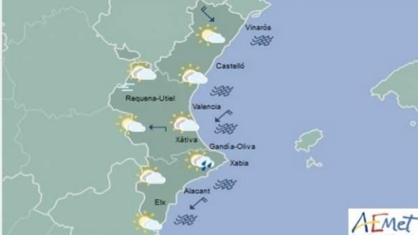 Temperatures en descens i arruixades este dimarts a la Comunitat Valenciana
