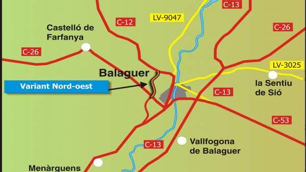 Mapa de la nueva variante de Balaguer (Lleida)