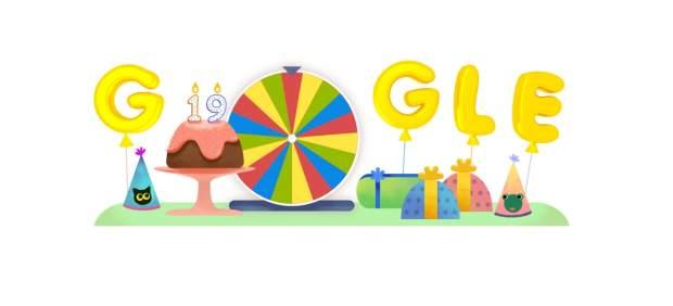 Doodle del 19º aniversario de Google.