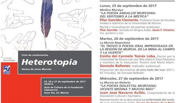 Imagen del folleto con las charlas del ciclo de la Fundación Cajamurcia
