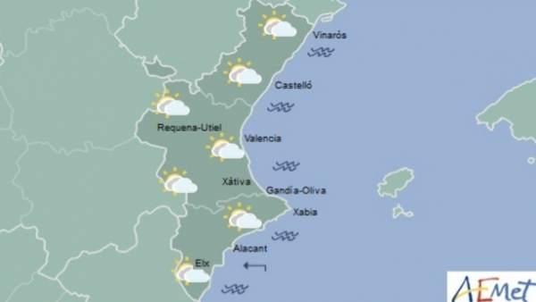 Pluges febles este dimecres en el litoral de la Comunitat Valenciana i temperatures sense canvis