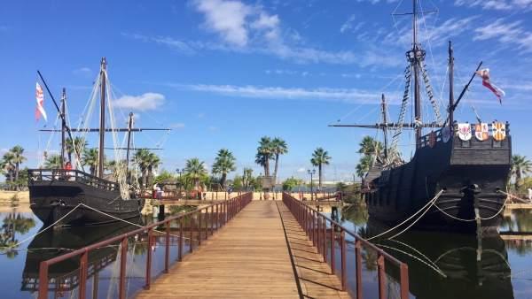 Muelle de las Carabelas, en La Rábida