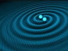 Dos agujeros negros en fusión produciendo ondas gravitacionales