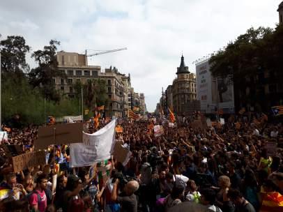 Manifestación de estudiantes en Barcelona.