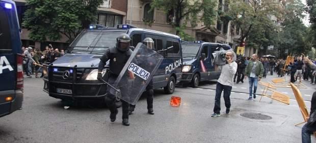 Carga policial en el centro de Barcelona