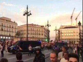 Presencia policial en la Puerta del Sol