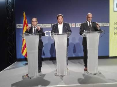 Los exconsellers de la Generalitat J.Turull, O.Junqueras, R.Romeva