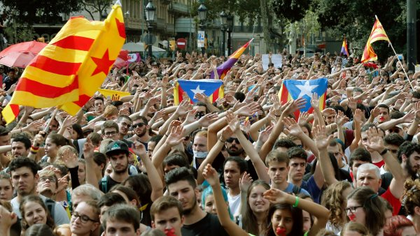 Manifestación de estudiantes en Barcelona