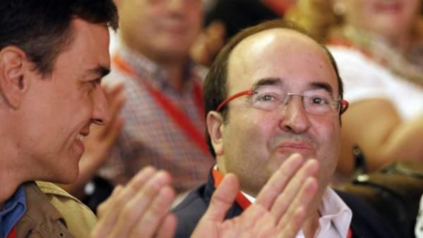 Los líderes del PSOE y el PSC, Pedro Sánchez y Miquel Iceta.