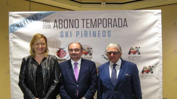 Gastón, Lambán y Yarza han presentado hoy el abono Ski Pirineos