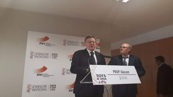 Ximo Puig, en atención a los medios en Alicante este jueves