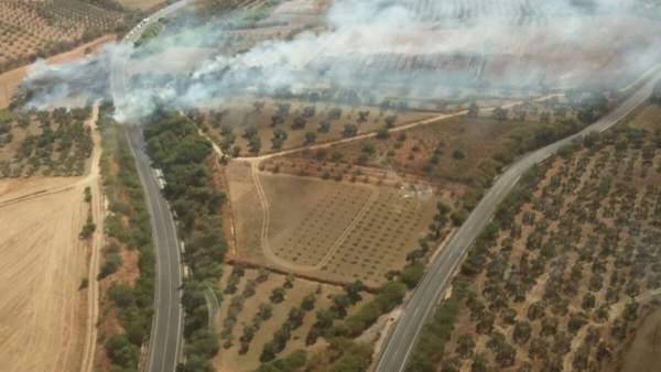 Imagen desde el helicóptero del incendio en Bonares.