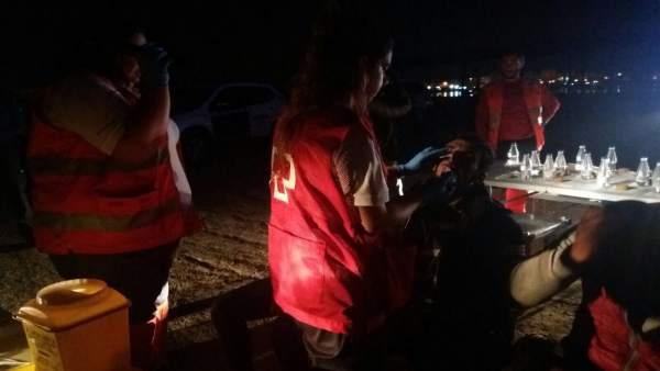 Voluntarios en las labores de asistencia