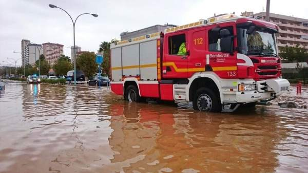Calle inundada en Calpe