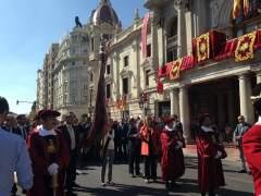Imagen del inicio de la procesión cívica del 9 d'Octubre