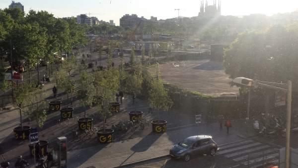 Obras de la plaza Glòries de Barcelona