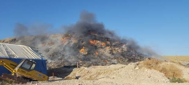 Planta de reciclaje afectada por el fuego en Córdoba