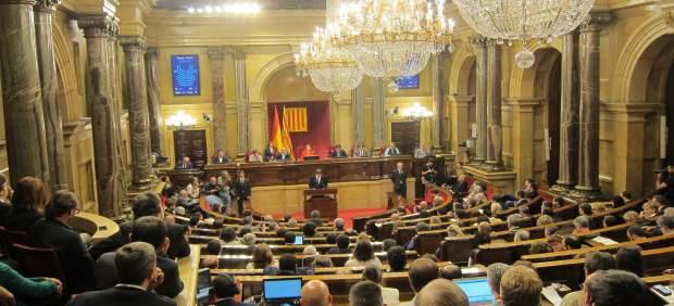 El pleno del Parlament durante la declaración del pte.C.Puigdemont