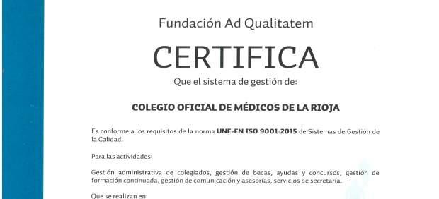 Certificado ISO del Colegio de Médicos