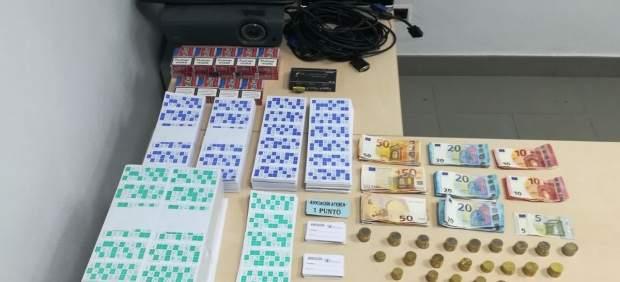 Material requisado del bingo ilegal