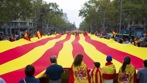 Manifestación a favor de la unidad de España y Cataluña en Barcelona
