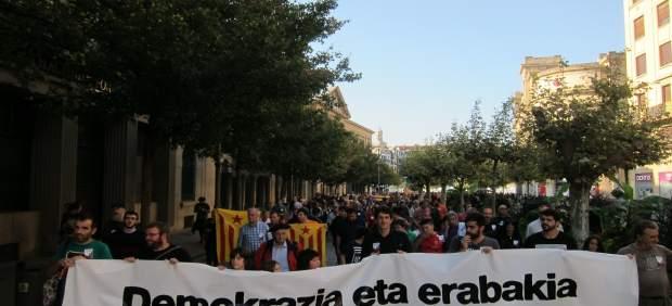 Manifestación en Pamplona 'en solidaridad con Cataluña'