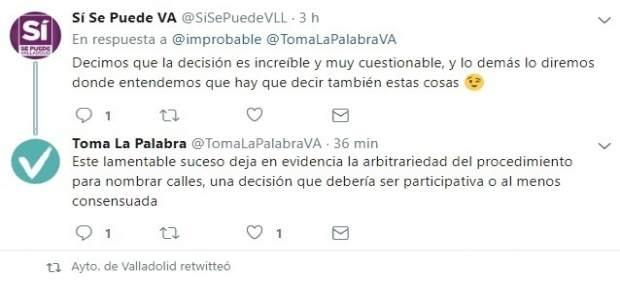 Tuits de VTLP y Sí Se Puede