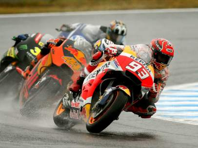 Marc Márquez en los entrenamientos del GP Japón.